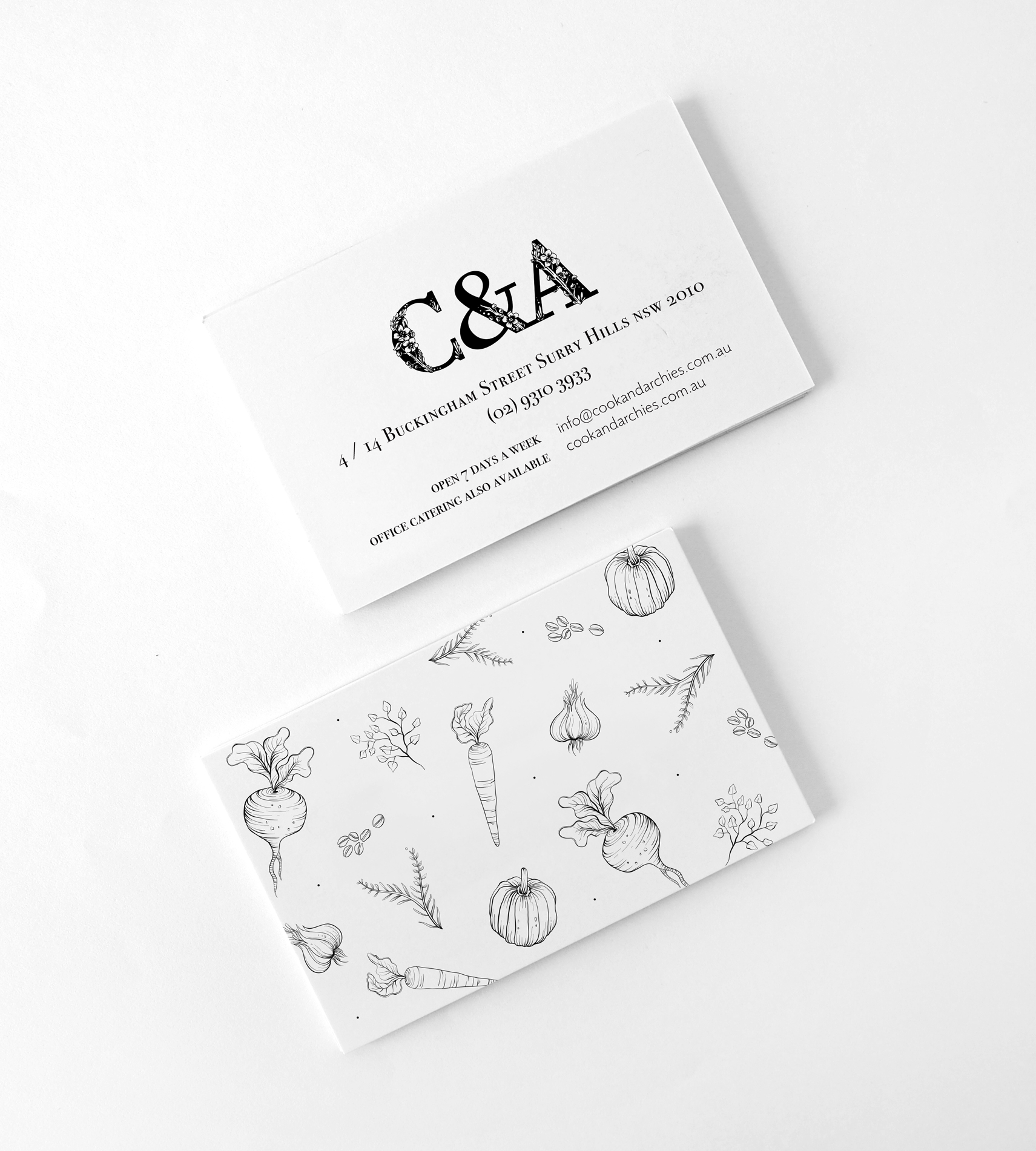 Cook and Archies business cards