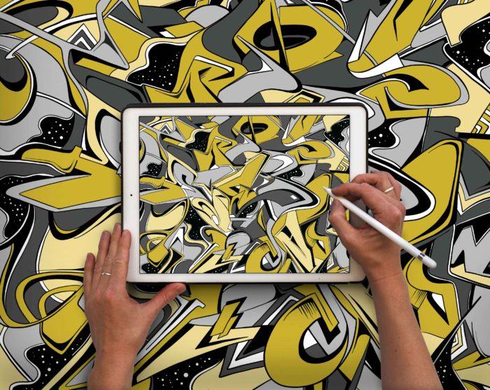 Smudge Stationery Graffiti Pattern Illustration