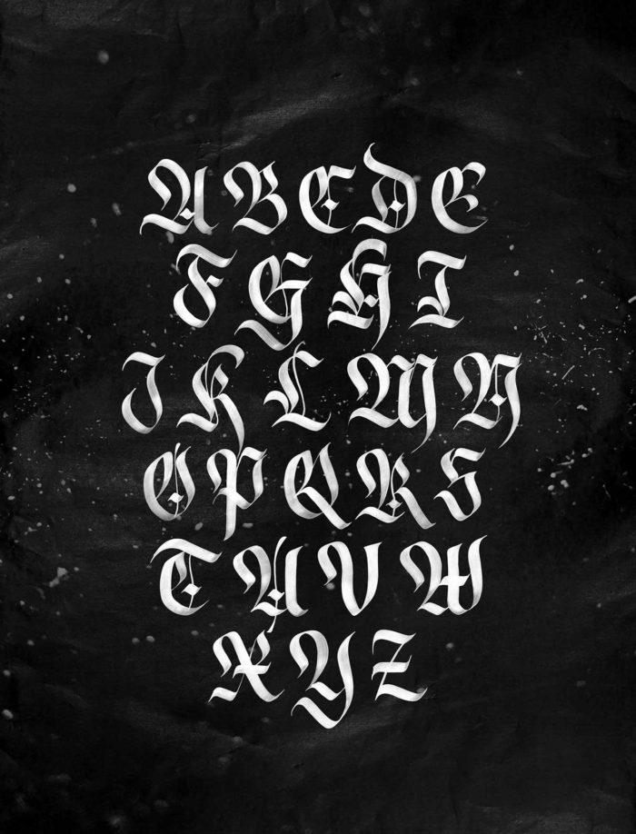 Blackletter Calligraphy Alphabet