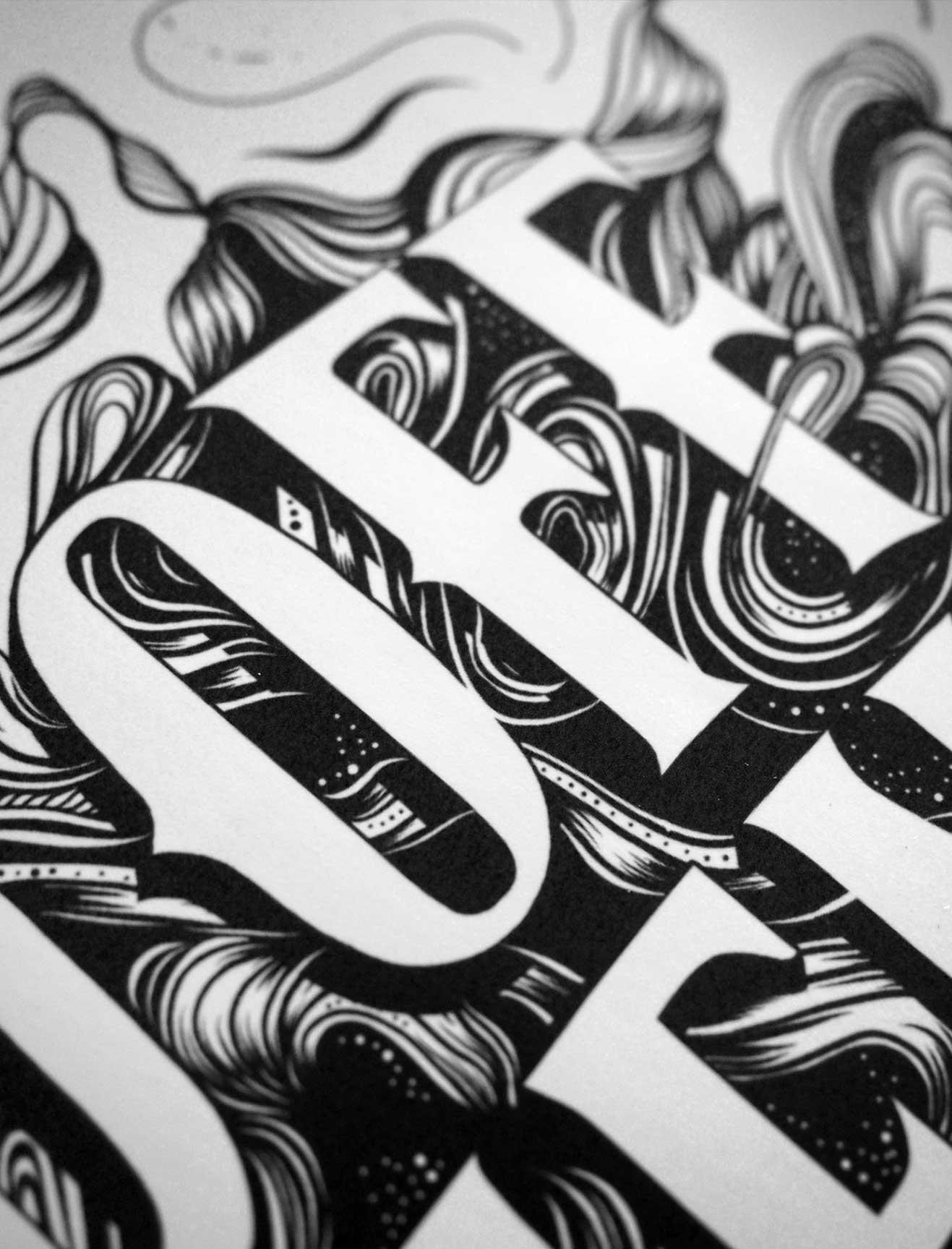 Typography + Line Illustration