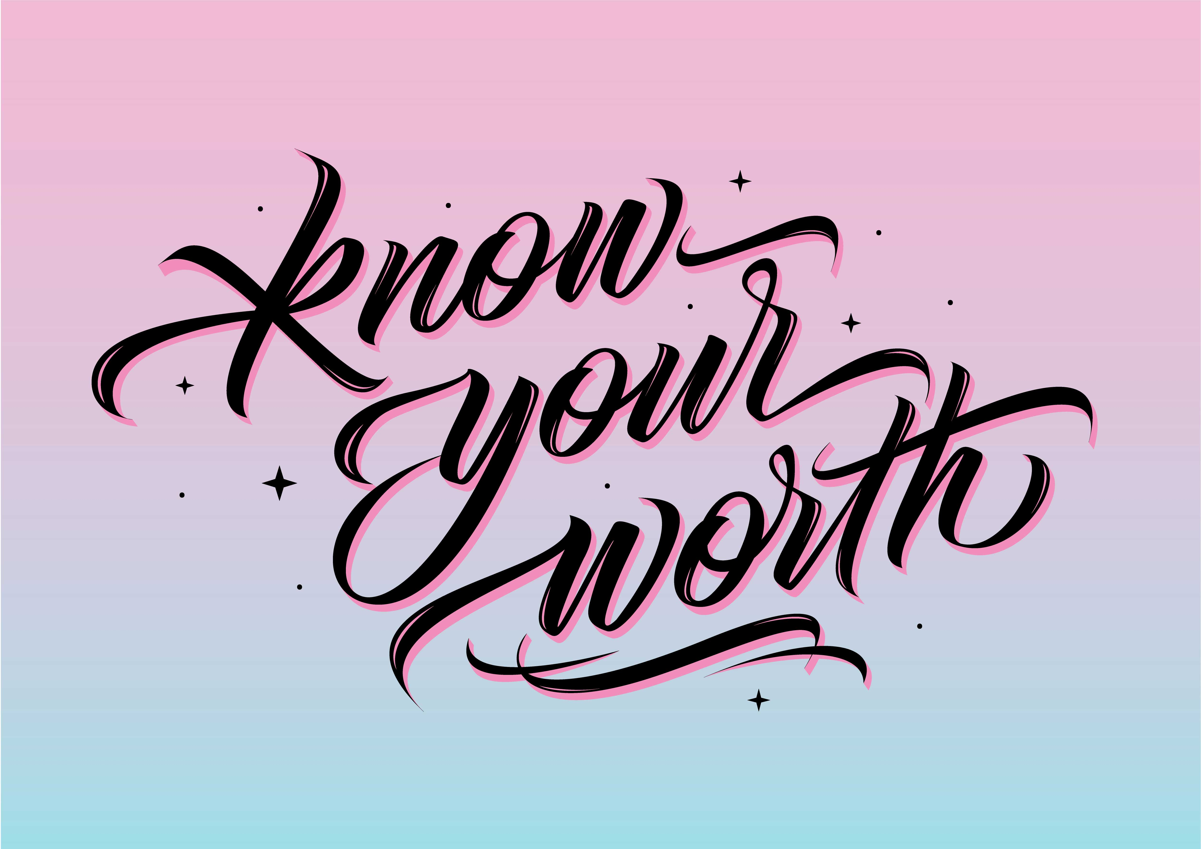 Know Your Worth | Typography Print by Cheeky Observer